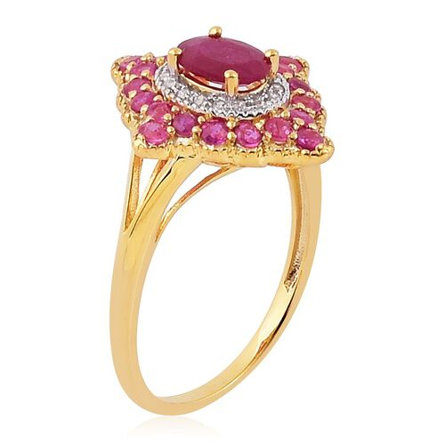 Niassa Ruby (Ovl 1.05 Ct), Burmese Ruby and White Zircon Ring in Yellow Gold Overlay Sterling Silver 2.200 Ct.