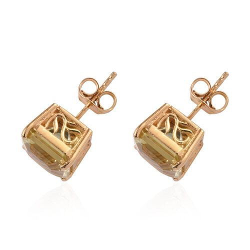 Ascher Cut Natural Ouro Verde Quartz (Oct) Stud Earrings (with Push Back) in 14K Gold Overlay Sterling Silver 6.750 Ct.