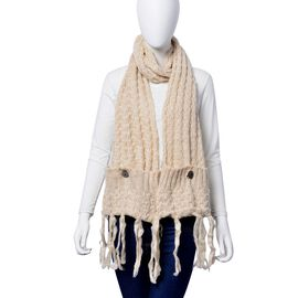 Machine Raised Sweater - Knit Cream Scarf with Pocket (Size 180x26 Cm)