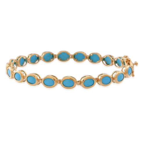 Arizona Sleeping Beauty Turquoise (Ovl) Bracelet (Size 8) in 14K Gold Overlay Sterling Silver 11.000 Ct.
