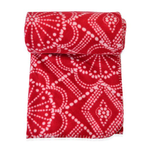 Superfine Printed Fleece Blanket (Size 200x150 Cm) Red and White Colour Flowers Design