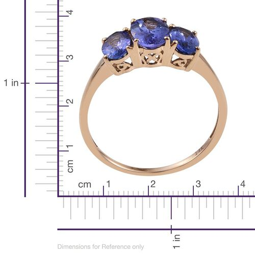 14K Y Gold Tanzanite (Ovl 1.00 Ct) 3 Stone Ring 2.150 Ct.