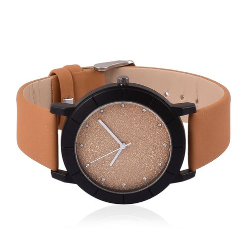 STRADA Japanese Movement Brown Strardust Dial Watch with White Austrian Crystal in Black Tone with Stainless Steel Back