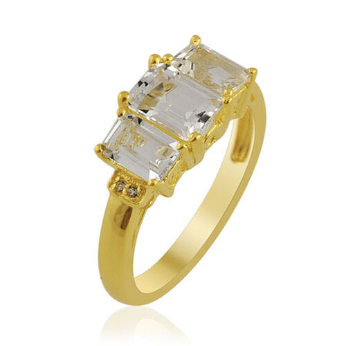 KARIS White Topaz (2.60 Ct) Gold Bond Brass Ring