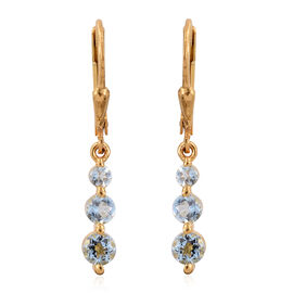 Espirito Santo Aquamarine (Rnd) Lever Back Dangle Earrings in 14K Gold Overlay Sterling Silver 1.000 Ct.