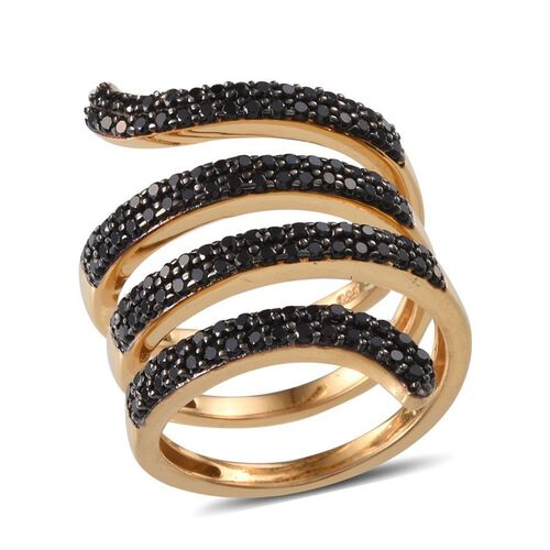 Boi Ploi Black Spinel (Rnd) Spiral Ring in 14K Gold Overlay Sterling Silver 1.500 Ct.