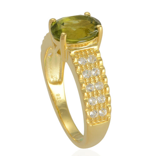 Hebei Peridot (Ovl 2.00 Ct), White Topaz Ring in Yellow Gold Overlay Sterling Silver 2.050 Ct.