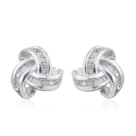 Diamond (Bgt) Knot Stud Earrings (with Push Back) in Platinum Overlay Sterling Silver 0.25 Ct.
