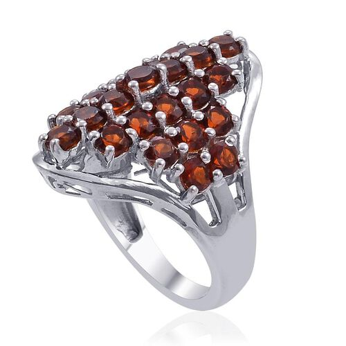 Madeira Citrine (Rnd) Cluster Ring in Platinum Overlay Sterling Silver 2.750 Ct.