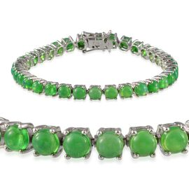 Green Ethiopian Opal (12.25 Ct) Platinum Overlay Sterling Silver Bracelet (Size 7.5)  12.250  Ct.