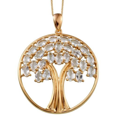 Espirito Santo Aquamarine (Ovl) Tree Pendant With Chain in 14K Gold Overlay Sterling Silver 4.750 Ct.
