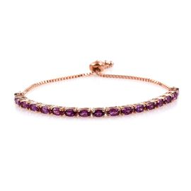Rare Mozambique Grape Colour Garnet (Ovl) Bracelet (Size 7.5) in Rose Gold Overlay Sterling Silver 4.750 Ct.