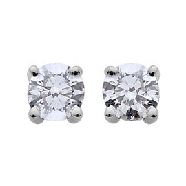 ILIANA 18K White Gold IGI Certified 0.50 Carat Diamond Round (SI/G-H) Solitaire Stud Earrings with Screw Back.