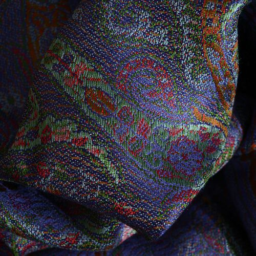 SILK MARK - 100% Superfine Silk Purple, Green and Multi Colour Jacquard Jamawar Scarf with Fringes at the Bottom (Size 180x70 Cm) (Weight 125- 140 Gms)