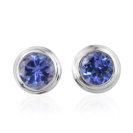 14K White Gold 1.75 Carat AA Tanzanite Bezel Set Stud Earrings with Push Back