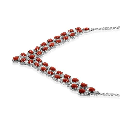Natural Mediterranean Coral (Ovl) Necklace (Size 20) in Platinum Overlay Sterling Silver 15.750 Ct.