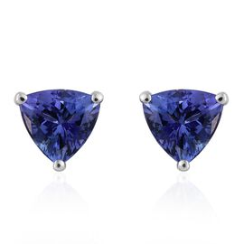 14K White Gold 2.25 Carat AA Tanzanite Trillion Stud Earrings (with Push Back)
