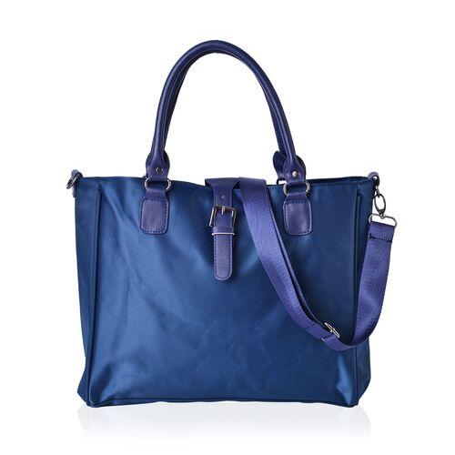 Blue Colour Tote Bag with Adjustable Shoulder Strap (Size 34x28x12 Cm)
