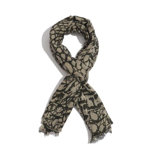 Nivienne Scarf Blend of 50% Wool and 50% Cotton Dark and Light Brown Colour Snake Skin Pattern Scarf (Size 175x75 Cm)