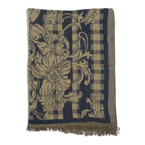 Beige and Blue Colour Floral and Leaves Pattern Reversible Scarf (Size 190x75 Cm)