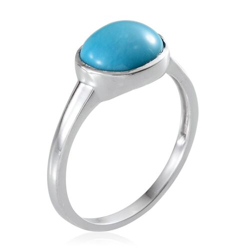 Arizona Sleeping Beauty Turquoise (Ovl) Solitaire Ring in Platinum Overlay Sterling Silver 2.750 Ct.