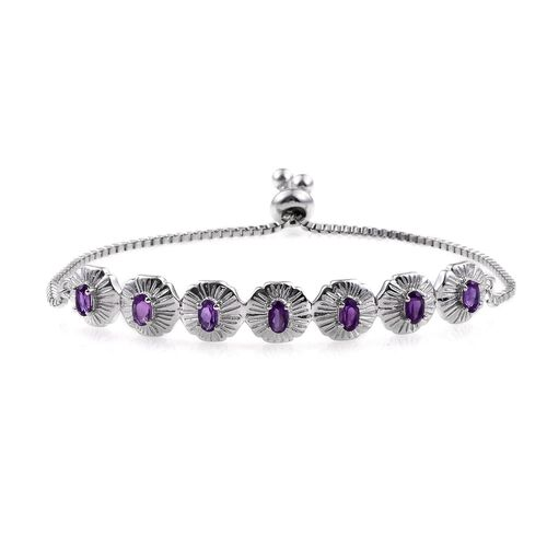 Amethyst (Ovl) Adjustable Bracelet (Size 6 to 9) in ION Plated Platinum Bond 1.500 Ct.