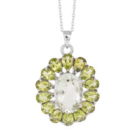 Green Amethyst (Ovl 5.00 Ct), Hebei Peridot Pendant With Chain in Sterling Silver 10.500 Ct.