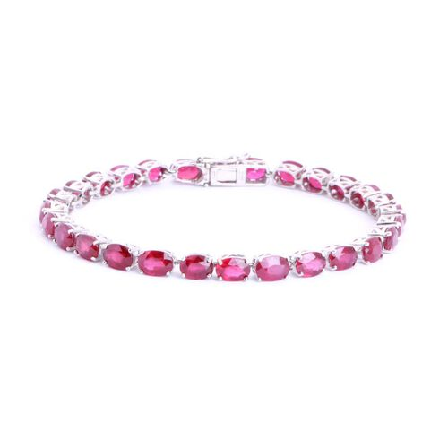 African Ruby (Ovl) Bracelet in Sterling Silver (Size 8) 27.300 Ct.