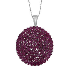 Burmese Ruby (Ovl) Cluster Pendant With Box Chain (Size 24) in Rhodium Plated Sterling Silver 25.000 Ct.