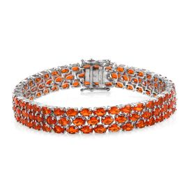 AA Jalisco Fire Opal (Ovl) Bracelet (Size 7.5) in Platinum Overlay Sterling Silver 14.750 Ct.
