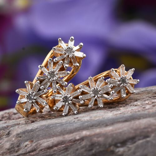 Diamond (Rnd) Earrings (with French Clip) in 14K Gold Overlay Sterling Silver 0.500 Ct.