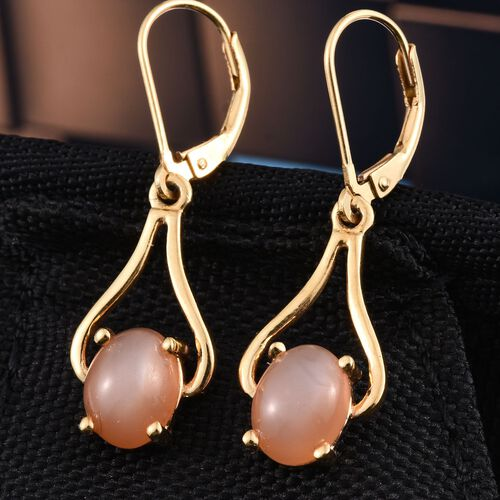 Peach Moonstone (Ovl) Lever Back Earrings in 14K Gold Overlay Sterling Silver 4.250 Ct.