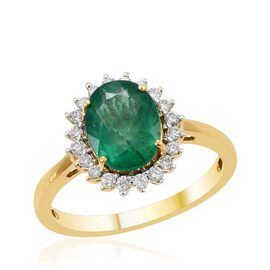 ILIANA 18K Y Gold Zambian Emerald (Ovl 1.90 Ct), Diamond Ring 2.150 Ct.