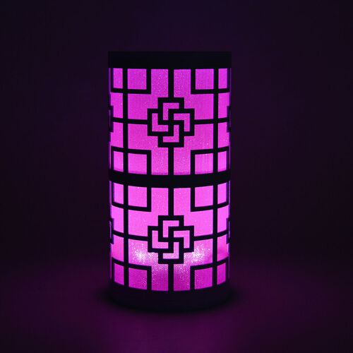 Home Decor - White Colour Chinese Knot Pattern Pink Colour LED Lamp (Size 23X11 Cm)