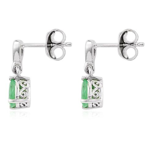 Zambian Emerald, Natural Cambodian Zircon 0.75 Ct Silver Tear Drop Earrings in Platinum Overlay