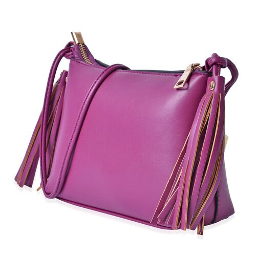 Purple Colour Crossbody Bag with Tassels and Shoulder Strap (Size 20x15x7.5 Cm)