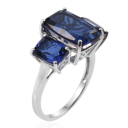 Ceylon Colour Quartz (Cush 7.50 Ct) 3 Stone Ring in Platinum Overlay Sterling Silver 10.750 Ct.