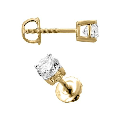 Close Out Deals 14K Y Gold IGI Certified Diamond (Rnd) (I2/ G-H) Stud Earrings 0.50 Ct.