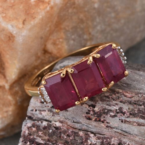African Ruby (Oct), Diamond Ring in 14K Gold Overlay Sterling Silver 5.000 Ct.