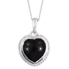 Black Onyx (Hrt) Solitaire Pendant with Chain in Platinum Overlay Sterling Silver 2.750 Ct.