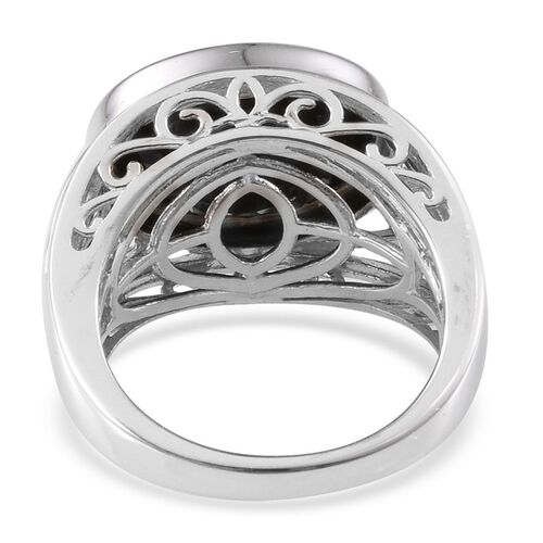 Boi Ploi Black Spinel (Ovl) Solitaire Ring in Platinum Overlay Sterling Silver 9.000 Ct.