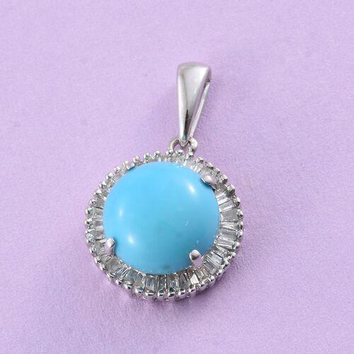 9K W Gold AAA Arizona Sleeping Beauty Turquoise (Rnd 2.25 Ct), Diamond Pendant 2.500 Ct.