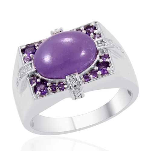 Designer Collection Purple Jade (Ovl 9.50 Ct), Amethyst and Diamond Ring in Platinum Overlay Sterling Silver 10.590 Ct.