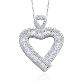 Diamond (Bgt) Heart Pendant With Chain in Platinum Overlay Sterling Silver 1.000 Ct.