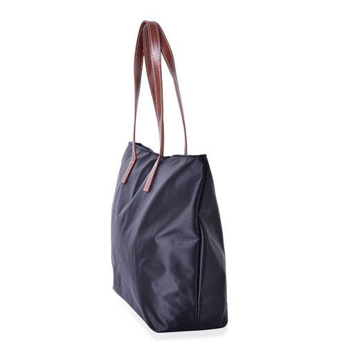 Black Colour Tote Bag with External Zipper Pocket (Size 45x32.5x30x13 Cm)