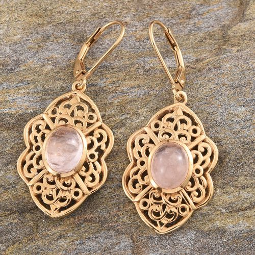 Marropino Morganite (Ovl) Lever Back Earrings in 14K Gold Overlay Sterling Silver 4.500 Ct.