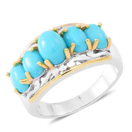 Arizona Sleeping Beauty Turquoise (Ovl 1.25 Ct) 5 Stone Ring in Yellow Gold and Rhodium Plated Sterling Silver 4.750 Ct.