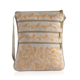 DOD - Hand Embroidered Yellow Colour Paisley Pattern Light Grey Suede Fabric Sling Bag (Size 27x20 Cm)