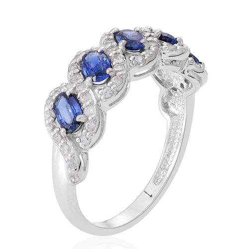 9K W Gold Rare AAA Ceylon Blue Sapphire (Ovl), Natural Cambodian White Zircon Ring 2.000 Ct.