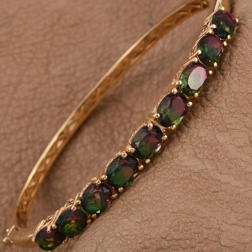 Bi-Color Tourmaline Quartz (Ovl) Bangle (Size 7.5) in ION Plated 18K Yellow Gold Bond 14.250 Ct.